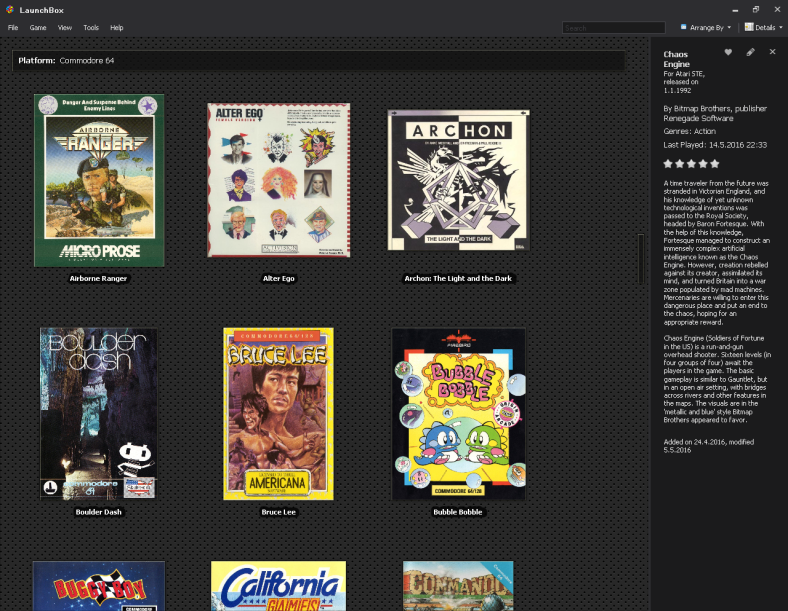 C64 games on LaunchBox